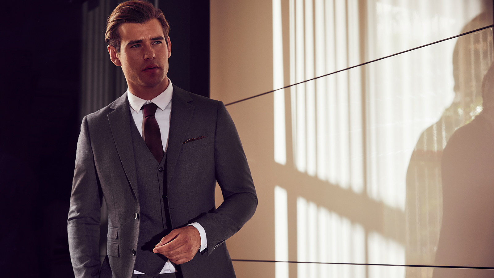 Man by Lipsy grey three-piece suit